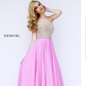 Pink Sherri Hill gown with rhinestones and pearls